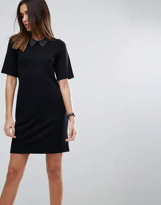 Asos DESIGN T-Shirt Mini Dress With Faux Leather Collar