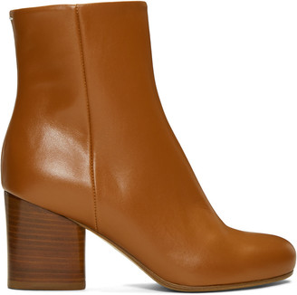 Maison Margiela Brown Leather Ankle Boots $880 thestylecure.com