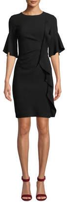 Elie Tahari Whitley Half-Sleeve Ruffled-Trim Dress