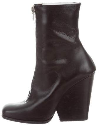 Céline Leather Zip Ankle Boots