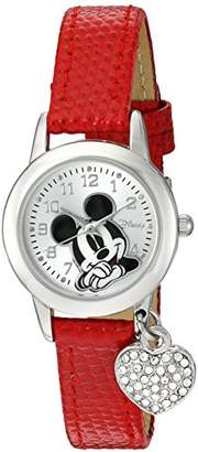 Disney Women's MK1018 Mickey Mouse Red Lizard Strap with Charm Watch