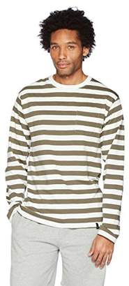 Flying Ace Men's Crew Neck Jersey Stripe Long Sleeve T-Shirt with Pocket