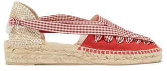 Castaner Grace Gingham Lace Canvas Espadrilles - Womens - Red