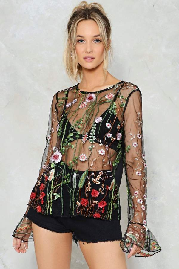 nastygal Clara Embroidered Mesh Top