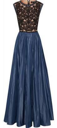 Jenny Packham Embellished Tulle-Paneled Taffeta Gown