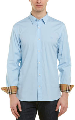 5461e023 Free return BURBERRY William Stretch Poplin Sport Shirt Pale Blue MSRP $300  Men's Clothing