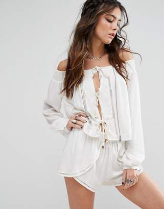 Lovers + Friends Off-Shoulder Rope Front Top
