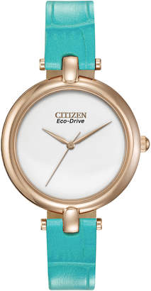 Citizen 34mm Leather Eco-Drive Watch, Turquoise