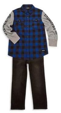 Diesel Little Boy's Two Piece Buffalo Plaid & Jeans Set
