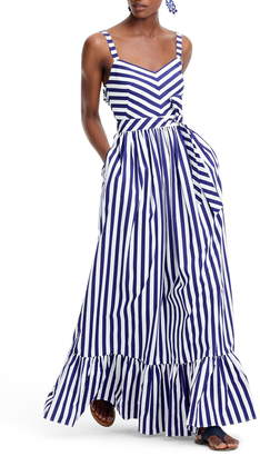 J.Crew Stripe Ruffle Cotton Maxi Dress