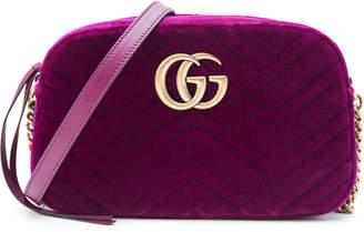 Gucci Marmont Matelasse GG Velvet Small Fuchsia