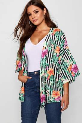 boohoo Plus Stripe + Floral Kimono