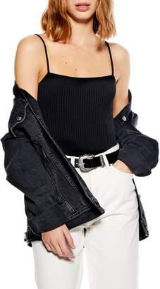 Topshop Ribbed Square Neck Bodysuit