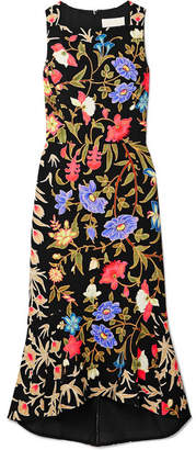 Peter Pilotto Kia Fluted Floral-print Stretch-cady Midi Dress - Black