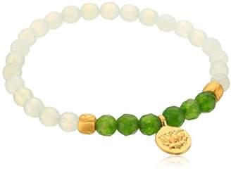 Satya Jewelry Two-Tone Jade Gold Plated Lotus Stretch Bracelet