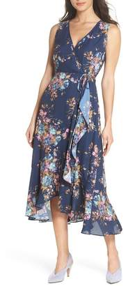 Charles Henry Floral Sleeveless Wrap Dress