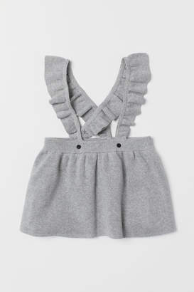 H&M Fine-knit Skirt with Straps - Gray