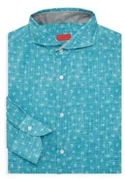 Isaia Printed Dress Shirt