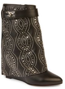 Givenchy Shark-Lock Embellished Leather Fold-Over Wedge Boots