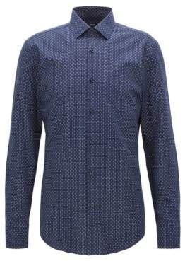 BOSS Hugo Slim-fit shirt in all-over-motif Italian cotton 16 Dark Blue