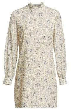 Derek Lam 10 Crosby Floral Silk Long-Sleeve Shift Dress
