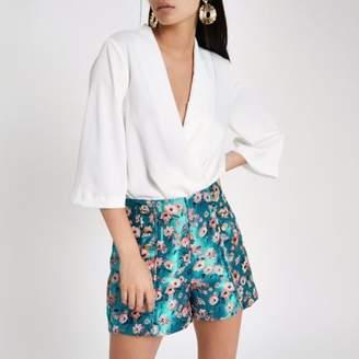 River Island Blue floral jacquard button front shorts