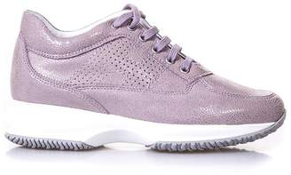 Hogan Interactive Lilac Glitter Print Sneakers