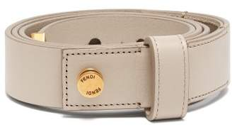 Fendi Logo Embellished Leather Belt - Womens - Grey