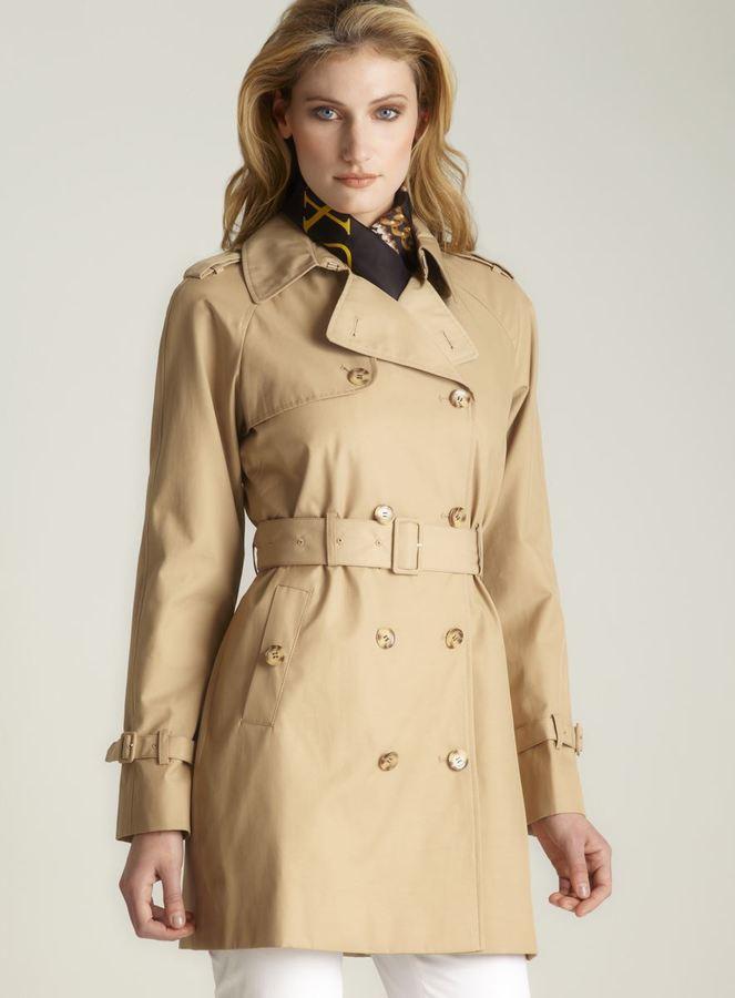 Calvin Klein Tie Belt Rain Coat, Light Brown