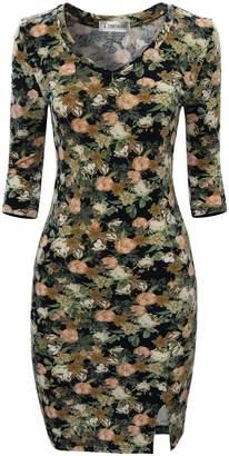 Toms Tom's Ware Women Stylish Floral Print 3/4 Sleeve Bodycon Dress TWCWD096-US XXL