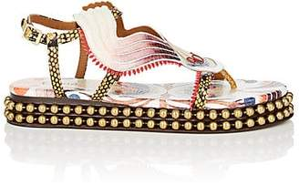Chloé Women's Chain-Embellished Stamped Leather Platform Sandals