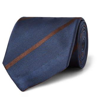 Ermenegildo Zegna 7cm Striped Herringbone Silk Tie