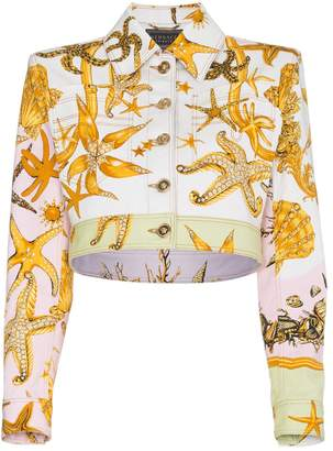 Versace Cropped denim jacket with marine print