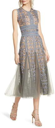 Bronx and Banco Megan Grey Floral Lace Midi Dress