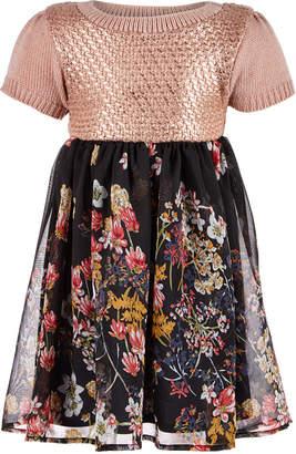 Blueberi Boulevard Baby Girls Sweater Floral-Print Dress
