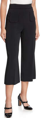 RED Valentino High-Rise Wide-Leg Cropped Ricrac Pants