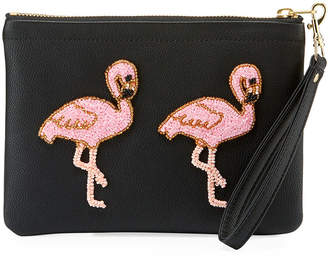 Tea & Tequila Vegan Flamingo Clutch Bag, Black