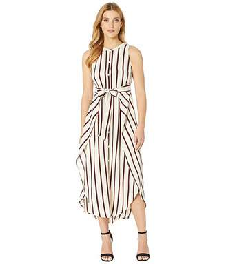 Vince Camuto Sleeveless Caravan Stripe Button Down Tie Front Dress