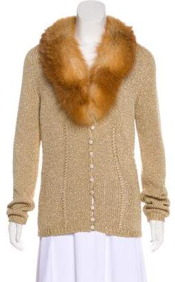 Blumarine Metallic Fur-Trimmed Cardigan