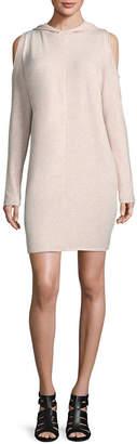 PROJECT RUNWAY Project Runway Long Sleeve Hooded Cold Shoulder Sweatshirt Dress