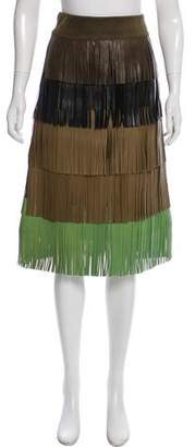 Sonia Rykiel Fringed Leather Skirt
