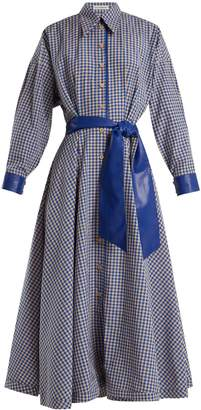 Faux-leather trimmed gingham cotton-blend dress