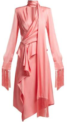 Alexander McQueen Fringe Trimmed Silk Satin Midi Dress - Womens - Pink