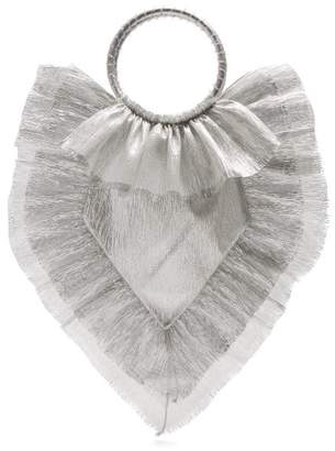 The Vampire's Wife Ruffle Trimmed Woven Clutch - Womens - Silver
