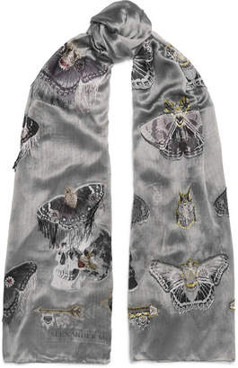 Alexander McQueen Fringed Fil Coupé Chiffon Scarf - Gray