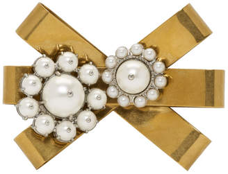 Miu Miu Gold and Cream Flower Pearl Brooch
