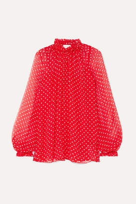 Zimmermann Ninety-six Swing Polka-dot Silk-georgette Blouse - Crimson