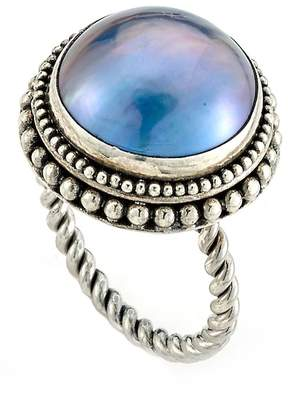Samuel B Jewelry Sterling Silver Twisted 19mm Blue Mabe Pearl Ring