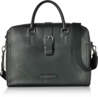 The Bridge Black Leather Double Handle Briefcase w/Detachable Shoulder Strap
