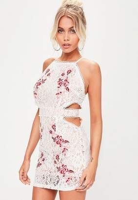 Missguided Nude Square Neck Embroidered Mini Dress